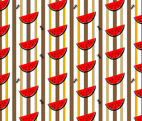watermelon_stripe_with_ants fabric by woodsworks on Spoonflower - custom fabric