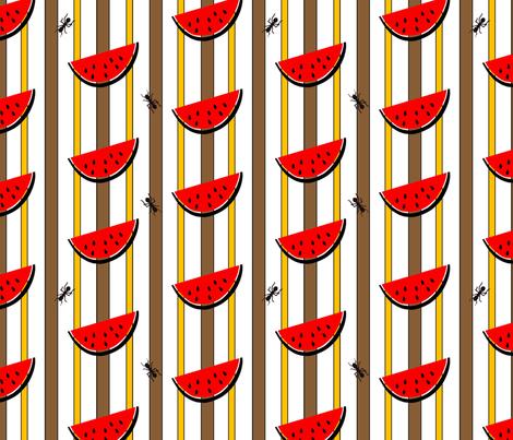 watermelon_stripe_with_ants fabric by tangled_vine_studio on Spoonflower - custom fabric