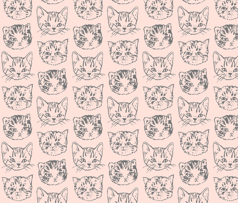 Cat Stack | Grey on Peach | Large fabric by imaginaryanimal on Spoonflower - custom fabric