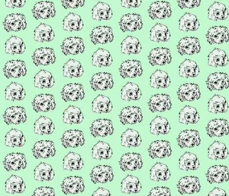 Poodle Pups | Mint | Large Scale fabric by imaginaryanimal on Spoonflower - custom fabric