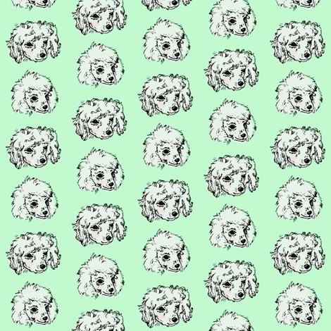 Poodle Pups | Mint | Small Scale fabric by imaginaryanimal on Spoonflower - custom fabric