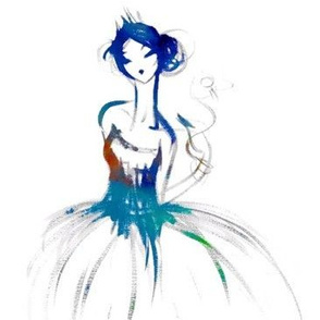 Watercolor ballerina - large scale