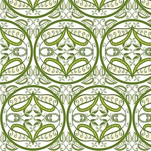 trellis in olive and white
