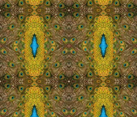 Peacock Golden Glory fabric by walkwithmagistudio on Spoonflower - custom fabric