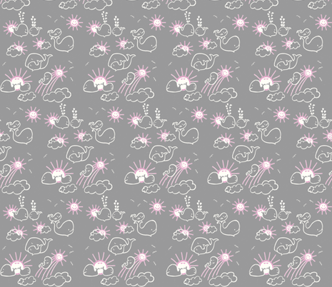 You Are My Sunshine Whales in Pink and Grey fabric by kbexquisites on Spoonflower - custom fabric