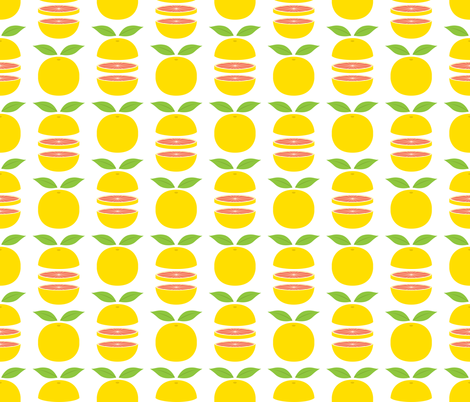 Grapefruits whole and sliced fabric by petitspixels on Spoonflower - custom fabric