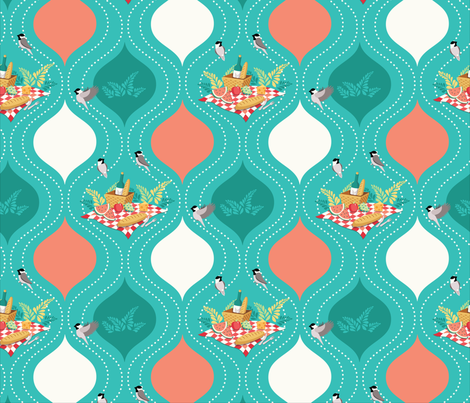 Chickadee Picnic (small) fabric by kiri_moth on Spoonflower - custom fabric