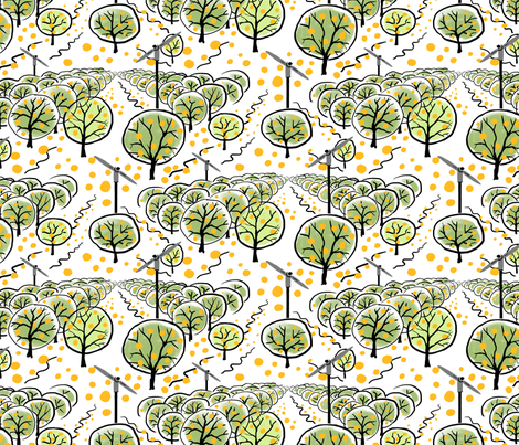 Citrus Grove with Oranges fabric by vinpauld on Spoonflower - custom fabric