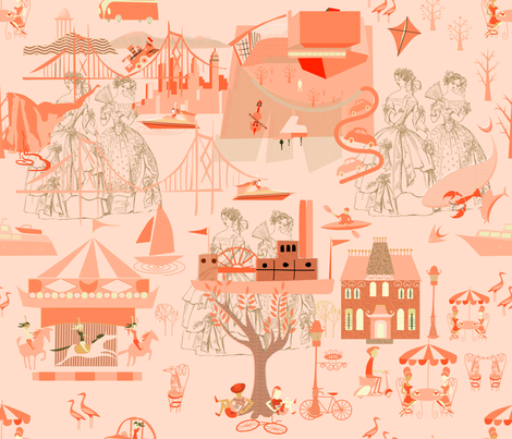 Orange Toile (2) fabric by chickoteria on Spoonflower - custom fabric