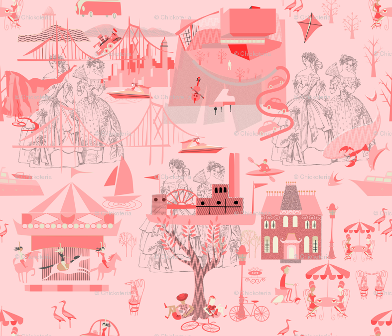 Pink Toile 5 Wallpaper Chickoteria Spoonflower