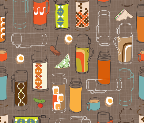 Retro Flasks fabric by paulawoods on Spoonflower - custom fabric