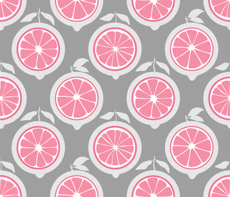 Julie's Pink Lemon Grid M fabric by juliesfabrics on Spoonflower - custom fabric
