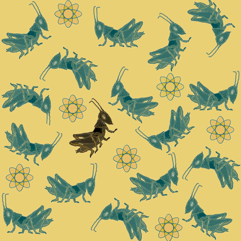 Ditsy Crickets (There's Always One) fabric by ravynscache on Spoonflower - custom fabric
