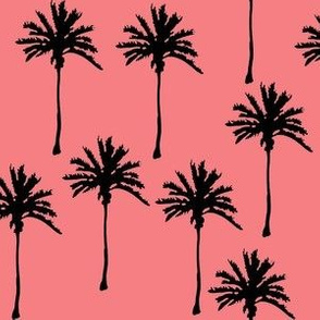 Black Palm Trees on Pinky Peach Background
