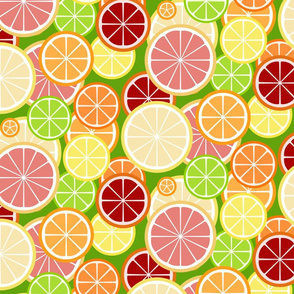 citrus slice buffet - on green