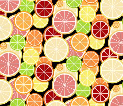 citrus_slice_buffet_on_black fabric by victorialasher on Spoonflower - custom fabric