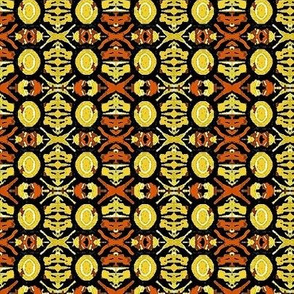 yellow and brown flower motif