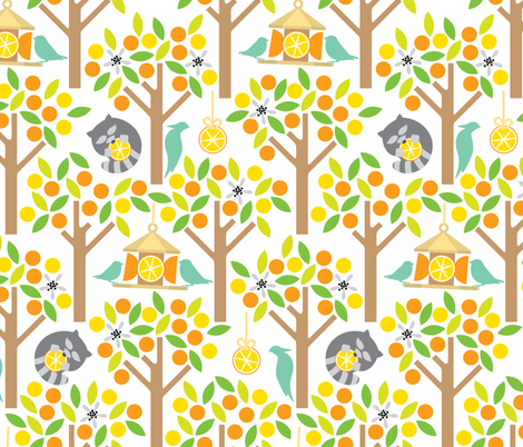 Birds and Oranges fabric by ravenous on Spoonflower - custom fabric