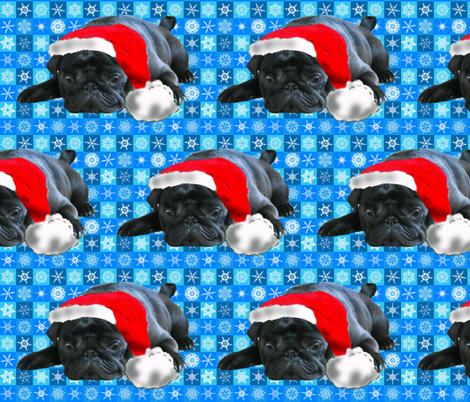 Black Pug in Santa Hat fabric fabric by dogdaze_ on Spoonflower - custom fabric