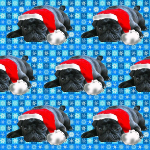 Black Pug in Santa Hat fabric