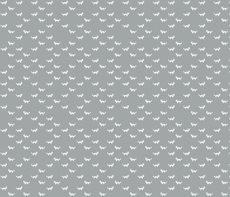 Tangram fox random - white on grey fabric by little_fish on Spoonflower - custom fabric