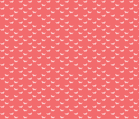 Tangram fox - random - white on dark coral fabric by little_fish on Spoonflower - custom fabric