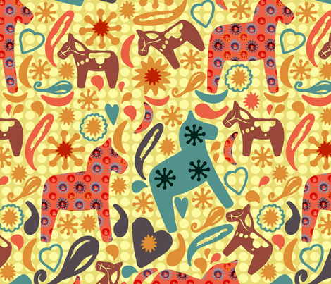 Homespun Horses fabric by slumbermonkey on Spoonflower - custom fabric