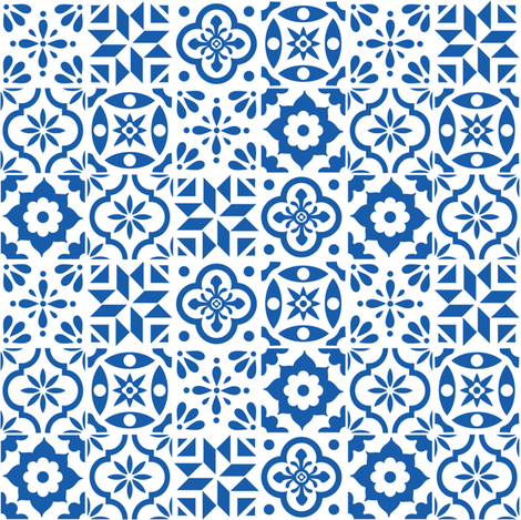 Spanish Tile Pattern - smaller size fabric by elizajanecurtis on Spoonflower - custom fabric