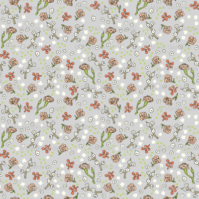 Scattered Flowers   Grey