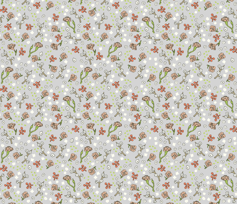 Scattered Flowers | Grey fabric by imaginaryanimal on Spoonflower - custom fabric