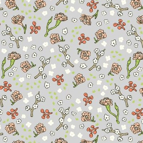 Scattered Flowers | Grey