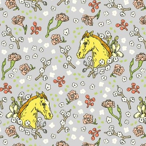 Horse Cameo with Flowers | Grey
