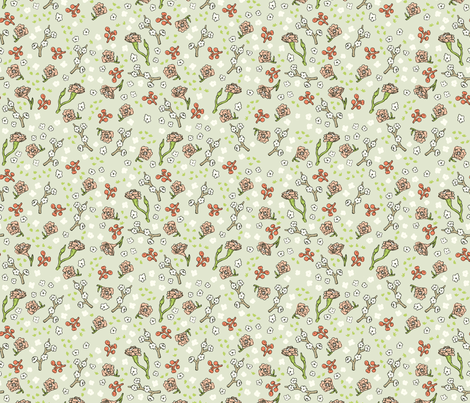 Scattered Flowers | Green fabric by imaginaryanimal on Spoonflower - custom fabric