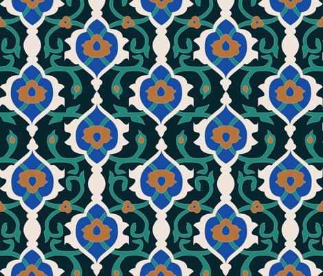 Dark Arabesque Mosaic fabric by audsbodkin on Spoonflower - custom fabric