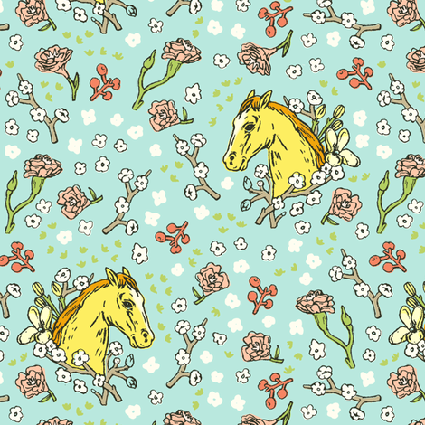 Horse Cameo with Flowers | Teal fabric by imaginaryanimal on Spoonflower - custom fabric