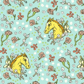 Horse Cameo with Flowers | Teal