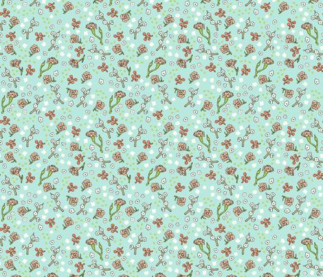 Scattered Flowers | Teal fabric by imaginaryanimal on Spoonflower - custom fabric