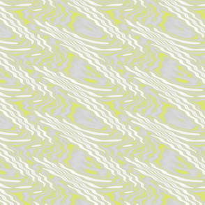 Chartreuse and White Ripples on Gray