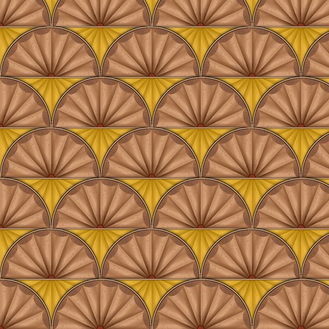 inlaid fan yellow fabric by glimmericks on Spoonflower - custom fabric