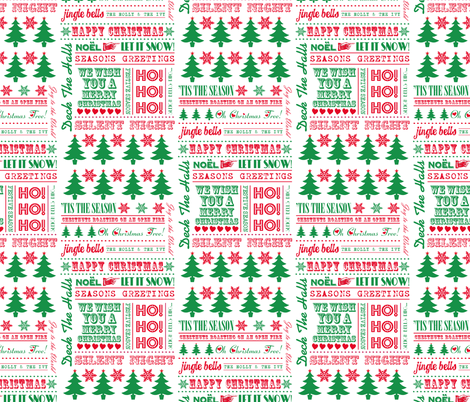 Christmas Typography Festive Word Art Christmas Trees & Snowflakes fabric by lovelyjubbly on Spoonflower - custom fabric