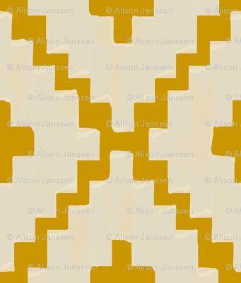 navajo_diamond chevron - light taupe on gold - Small