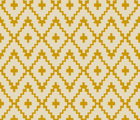 navajo_diamond chevron - light taupe on gold - Small fabric by alison_janssen on Spoonflower - custom fabric