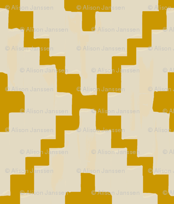 Southwest_ diamond chevron - light taupe on gold