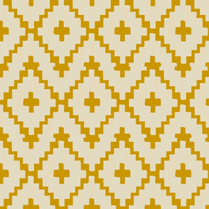 Southwest_ diamond chevron - light taupe on gold