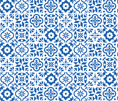 Spanish Tile Pattern Larger Size Fabric