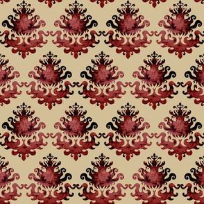 Velvet damask 'aged mahogany'