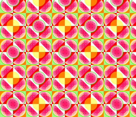 Watermelon_checkerboard fabric by medamade on Spoonflower - custom fabric