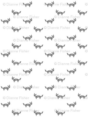 Tangram fox random - medium grey on white