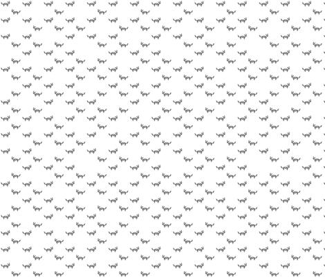 Tangram fox random - medium grey on white fabric by little_fish on Spoonflower - custom fabric