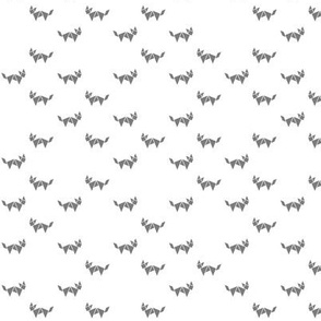 Tangram fox random - medium grey on white